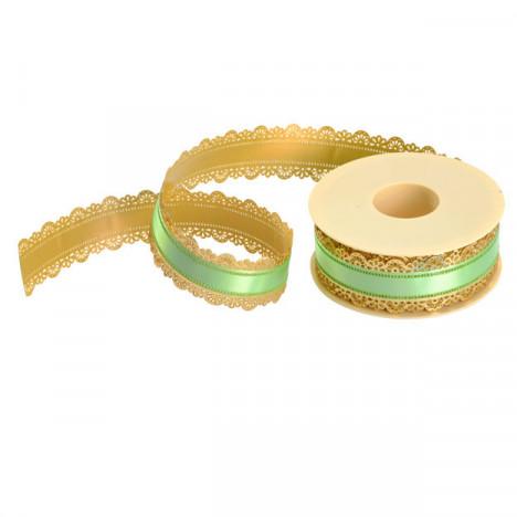 Ruban à gâteau or/vert h40mm