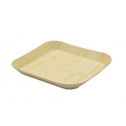 Barquette en carton impression bois 105x105x12