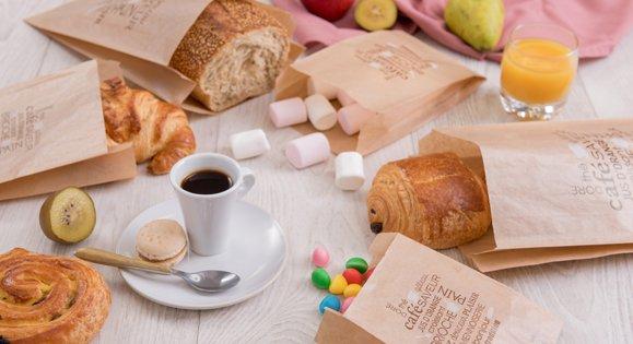 Sacs à pain en papier kraft ou blanc pour viennoiseries ou pains