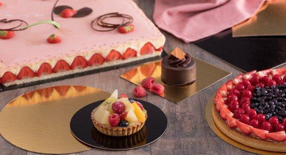 Support carton gâteau de différentes couleurs Or, Or/Noir et Or/Argent