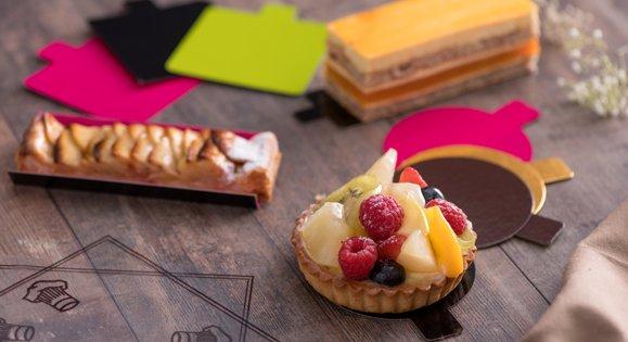 Support pâtisserie individuelle en carton ou en plastique